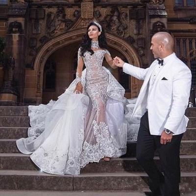 Tulle High-Neck Appliques Detachable-Train Long Sleeves Glamorous Wedding Dresses_4