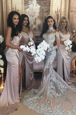 Spaghetti Straps V-neck Satin Sleek Simple Bridesmaid Dresses with Side Slit_1