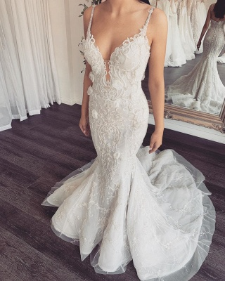 Spaghetti Straps V-neck Sexy Mermaid Wedding Dresses with Detachable Sparkle Overskirt_2
