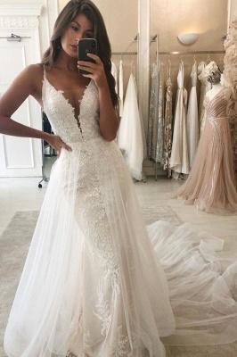 Spaghetti Straps Lace Mermaid Wedding Dresses With Detachable Train_1