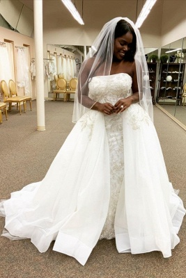 Strapless Lace Column Wedding Dresses With Detachable Skirt_1