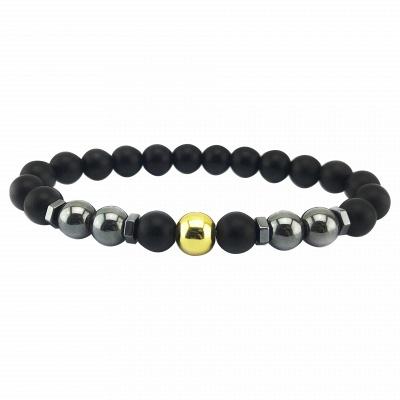 Naturally Stone Pulseira Masculina Beaded Bracelet Onyx Black Yoga Jewelry_8