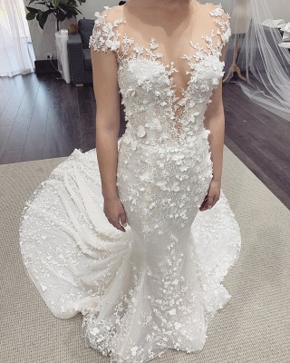 Modern Jewel Sheer Lace Cap Sleeves 2 in 1 Convertible Wedding Dresses_2