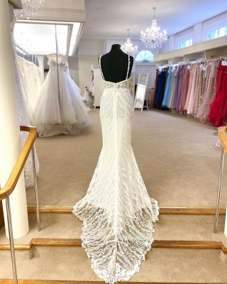 Spaghetti Straps Plunging V-neck Lace 2 In 1 Convertible Wedding Dress_3