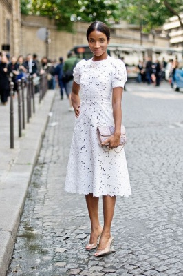 Round Puffy Sleeves White Lace Grace Midi Wedding Guest Dresses_1