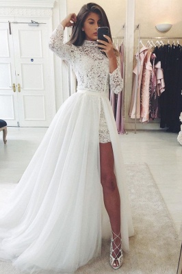 High Neck Long Sleeves Lace Wedding Dresses With Detachable Train_1