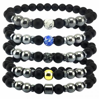 Naturally Stone Pulseira Masculina Beaded Bracelet Onyx Black Yoga Jewelry_3