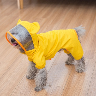 Yellow New Designed Waterproof Dog Raincoat With Hoody | Small Pets Cloth_3