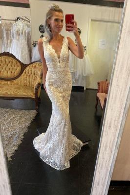 Straps V-neck Lace Tulle Detachable Train Wedding Dresses_2