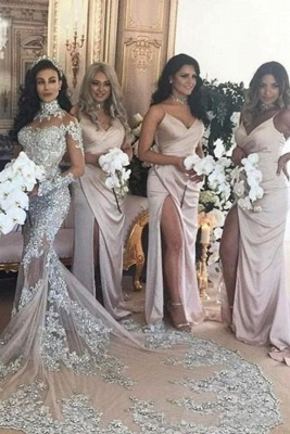Spaghetti Straps V-neck Satin Sleek Simple Bridesmaid Dresses with Side Slit_2