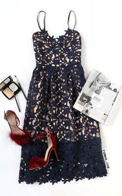 Women's Grace Spaghetti Straps V-neck Lace Midi Party Dresses_3