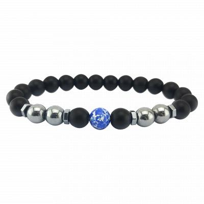 Naturally Stone Pulseira Masculina Beaded Bracelet Onyx Black Yoga Jewelry_12