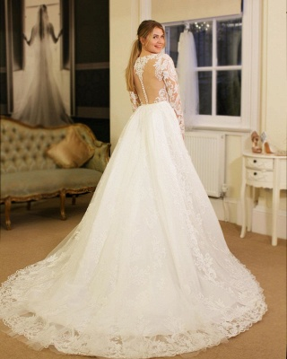 V-neck Lace Sheath Detachable Wedding Dresses with L ong Sleeves_2