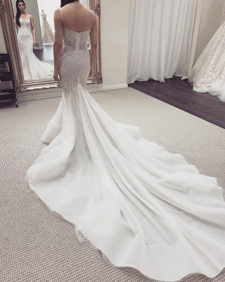 Spaghetti Straps Fit and Flare Wedding Dresses With Detachable Train_3