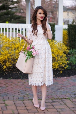 Jewel Short Sleeves Grace Midi Dresses for Spring Wedding Party_1