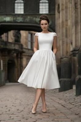 Jewel Cap Sleeves A-line Stiff Grace Midi Wedding Guest Dresses_1