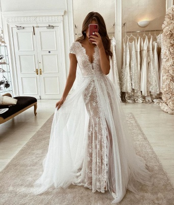 V-neck Cap Sleeves Lace Wedding Dresses with Detachable Sparkle Overskirt_2