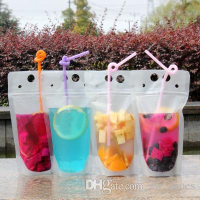 100pcs Clear Drink Pouches Bags frosted Zipper Stand-up Plastic Drinking Bag with straw with holder Reclosable Heat-Proof