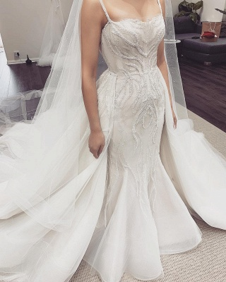 Spaghetti Straps Fit and Flare Wedding Dresses With Detachable Train_4