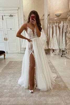 Spaghetti Straps V-neck Sexy Detachable Skirt Wedding Dresses_1