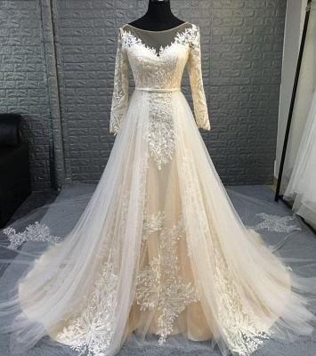 Round Neckline Long Sleeves Transformable Wedding Dresses with Overskirt_2