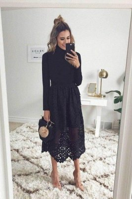 High Neck Long Sleeves Black Lace Midi Wedding Guest Dresses