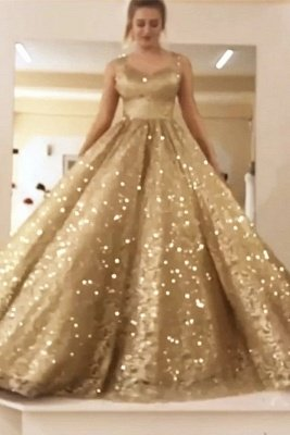 Sparkly Ball Gown Sequin Prom Dresses | Long Sleeves Bling Bling Formal Dresses
