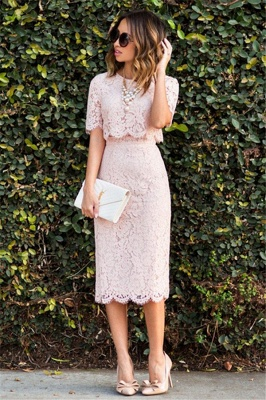Lace Cute Pink Short-Sleeve Fashion Two-Piece Homecoming Dresses_2