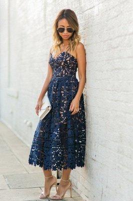 Women's Grace Spaghetti Straps V-neck Lace Midi Party Dresses_4