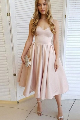 Strapless Sweetheart A-line Tea Length Pastel Colored Party Dresses