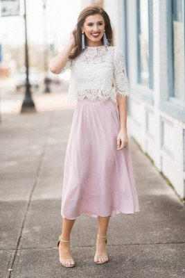 Round Neck Half Sleeves Pastel Colored Tea Length Party Dresses