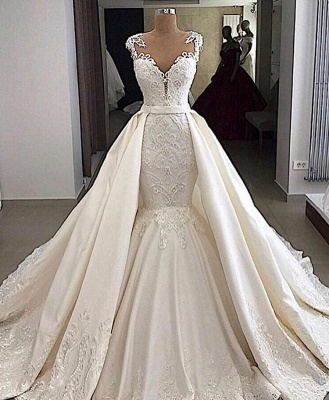 V-neck Cap Sleeves Lace Mermaid Detachable Skirt Overlay Wedding Dresses_2