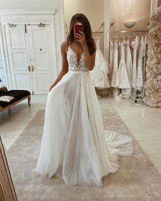 Spaghetti Straps V-neck Sexy Detachable Skirt Wedding Dresses_2