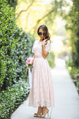Round Neck Short Sleeves Elegant Pink Lace Tea Length Party Dresses_2