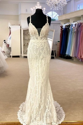 Spaghetti Straps Plunging V-neck Lace 2 In 1 Convertible Wedding Dress_2