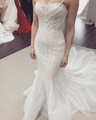 Spaghetti Straps Fit and Flare Wedding Dresses With Detachable Train_2