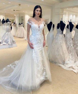Jewel Sheer Lace Cap Sleeves Convertible Overskirt Wedding Dresses_2