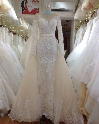 Jewel Long Sleeves Lace Detachable Skirt Wedding Dresses_2