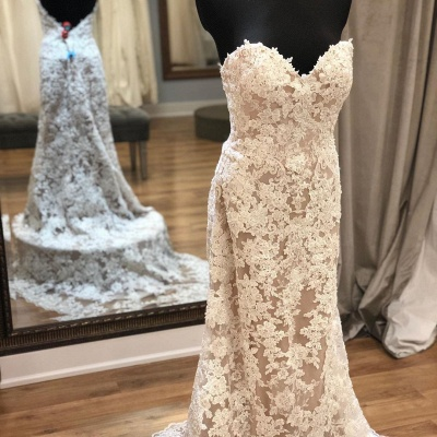 Strapless Sweetheart Grace Lace Removable Train Wedding Dresses_2