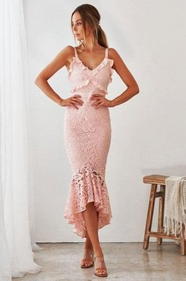 Women's Chic Spaghetti Straps V-neck Fit Mermaid Midi Party Dresses