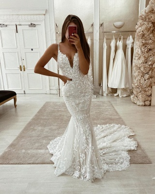 Spaghetti Straps Lace Fit and Flare Wedding Dresses With Detachable Overskirt_2