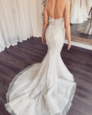 Spaghetti Straps V-neck Sexy Mermaid Wedding Dresses with Detachable Sparkle Overskirt_3