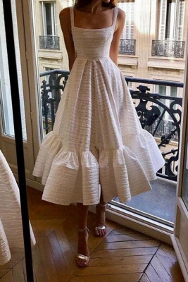 Stylish Spaghetti Straps Square Neck Skirt Midi Wedding Guest Dresses