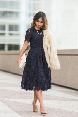 Jewel Short Sleeves Grace Midi Lace Dresses for Wedding Party and Other Event
