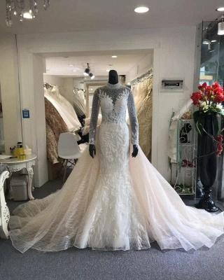 High Neck Sheer Long Sleeves Wedding Dresses With Detachable Overskirt_2