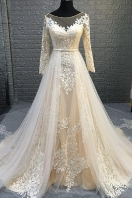 Round Neckline Long Sleeves Transformable Wedding Dresses with Overskirt_1