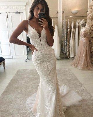 Spaghetti Straps Lace Mermaid Wedding Dresses With Detachable Train_2