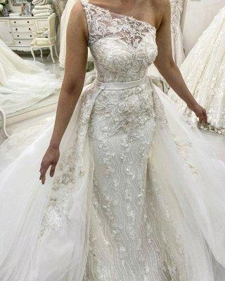 One Shoulder Sleeveless Lace Detachable Skirt Overlay Wedding Dresses_2