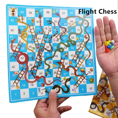 Portable Children Snake Ladder Plastic Flight Funny Family Party Games | Chess Set Board Game Toys for Kids_1