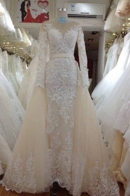 Jewel Long Sleeves Lace Detachable Skirt Wedding Dresses